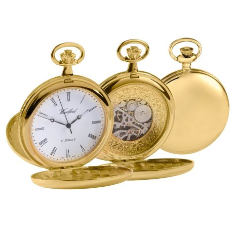 Mechanical Gold Plated Polished Pocket Watch With Chain